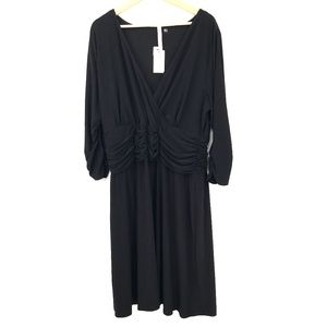 NEW NY Collection Woman Slinky faux wrap v-neck Dress Black cocktail 2X women's